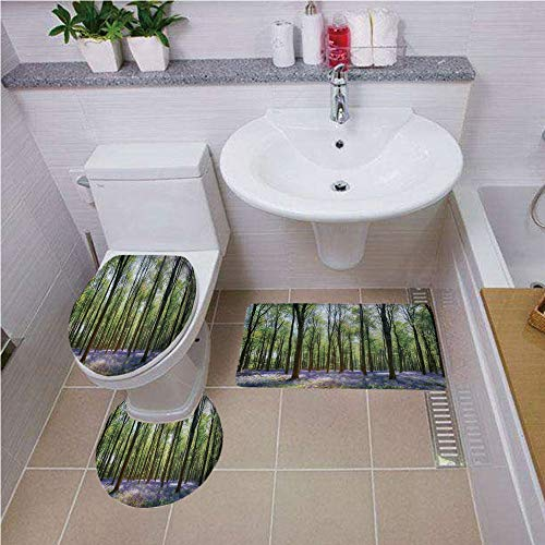 haped Toilet Mat Area Rug Toilet Lid Covers 3PCS,Woodland Decor,Bluebells in Wepham Woods Landscape Flowers Rural Countryside Woodland, ,Bath mat set Round-Shaped Toilet Mat Area R ()