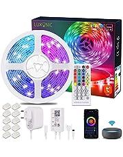 Taśmy LED WiFi 20M / 65,6Ft, LUXONIC Smart RGB LED Stripes Zmiana koloru pasków Alexa, synchronizacja muzyki sterowana przez APP, praca z Asystentem Google, bardzo długie światło LED do dekoracji pokoju