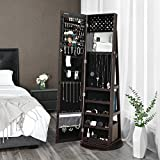 SONGMICS Jewelry Cabinet Armoire 360°Rotatable Higher Mirror, Lockable Jewelry Organizer UJJC62BR