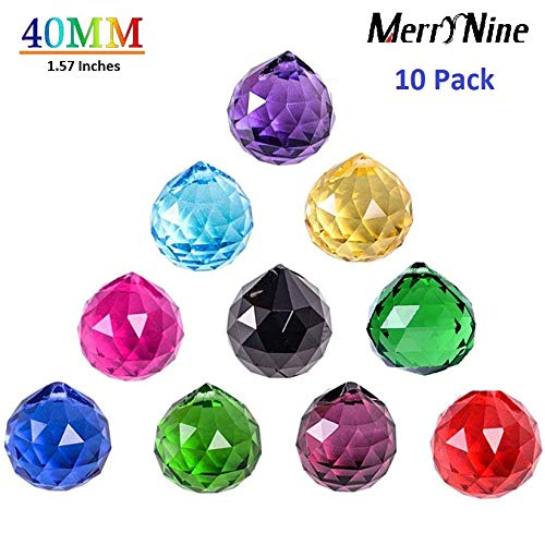 MerryNine Mixed Colorful Crystal Ball Prism with Drilled Hole Suncatcher Rainbow Pendants Maker, Hanging Crystals Prisms for Windows, for Feng Shui, for Gift(PrismBall-40mm Colorful) (Pendant Maker)