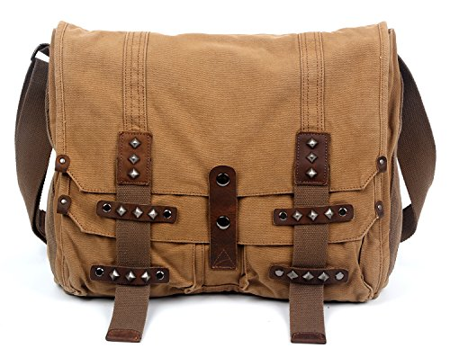 The Same Direction Deck Ash Messenger Bag Leather and Canvas Bag (Camel) by The Same Direction
