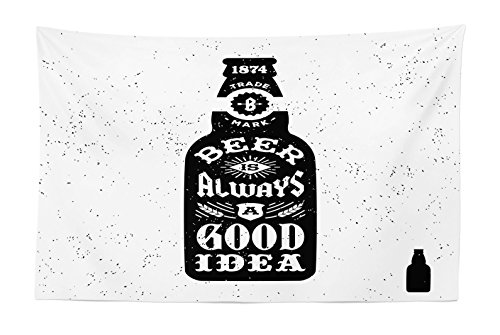 (Lunarable Man Cave Tapestry, Beer is Always a Good Idea Typography Retro Grungy Hipster Old Label and Bottle, Fabric Wall Hanging Decor for Bedroom Living Room Dorm, 45 W X 30 L inches, Black White)