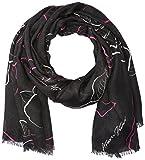 Armani Jeans Women's Rose Print Knit Scarf, black, One Size