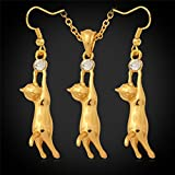 GDSTAR Cute Cat Platinum / 18K Real Gold Plated Pendant Necklace Drop Earrings Set For Women Girl Rhinestone Fashion Jewelry Set