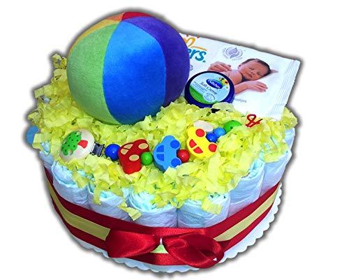 """Luiertaartmagie – luiertaart """"bonte ball"""" neutraal voor jongens en meisjes babygeschenk babyshower doop geboorte souvenir"""