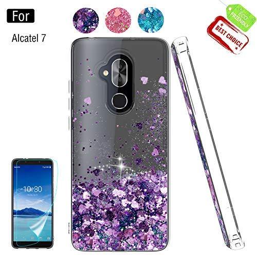Atump Alcatel 7 Case,T-Mobile Revvl 2 Plus Cases with HD Screen Protector for Girls Women, Glitter Safe Protective Phone Case Cover for Alcatel 7 Folio Purple