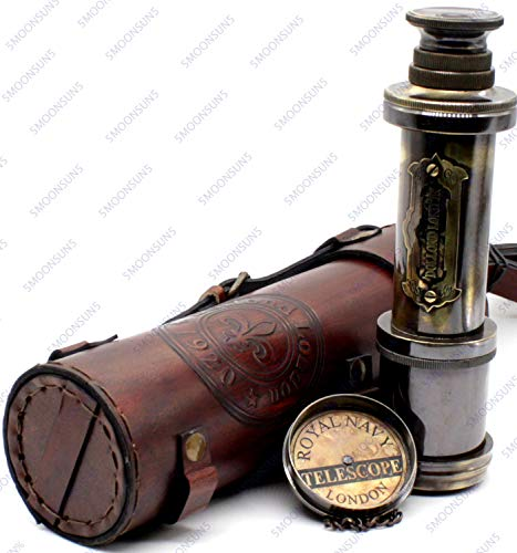 Pirate Brass Telescope, Spyglass Collapsible Monocular Decorative Telescope with Glass Optics for Kids Travel, Hiking, Hunting, Navigation with High Resolution, with Lid and Finish by Black Antique