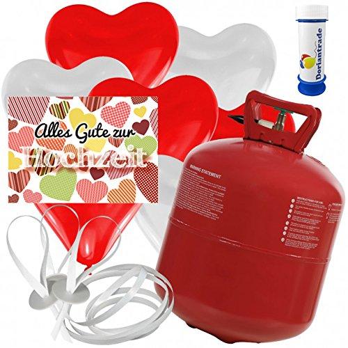 50 Herz Luftballons freie Farbwahl mit Helium Ballon Gas + 50 Weitflugkarten Alles Gute zur Hochzeit Herzen + Gratis Doriantrade Seifenblasen 60 ml Hochzeit Valentinstag Komplettset (Rot/Weiß)