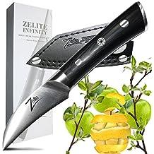 ZELITE INFINITY Bird's Beak Paring Knife 2.75 Inch >> Razor-Edge Series >> Japanese AUS8 High Carbon Stainless Steel, Black Pakkawood Handle, Quality Chef Peeling Knives, Ultra-Premium Leather Sheath