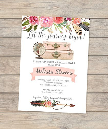 Travel Theme Bridal Shower Invitation, Wanderlust Bridal Shower