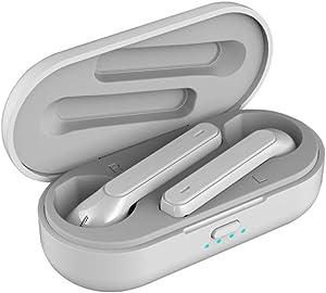 MIMEI True Wireless Earbuds 5.0 Bluetooth Headphones in-Ear Stereo Wireless Earphones with Microphone Binaural Calls, One-Step Pairing, Total 21 Hours, True Free Plus (15.5 X 10.2 X 3 cm, White)