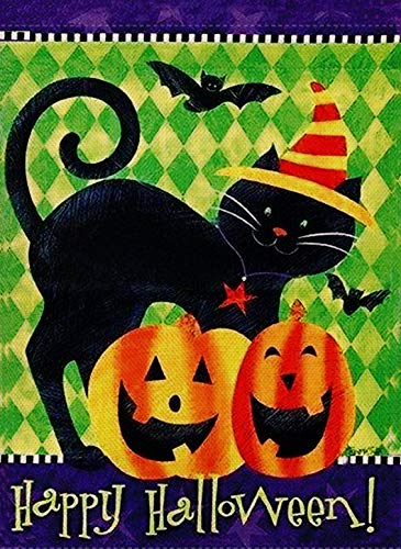 Dyrenson Home Decorative Happy Halloween Garden Flag Black Cat Double Sided, Pumpkin Quote House Yard Flag, Rustic Outside Funny Kitty Yard Decorations, Bat Seasonal Outdoor Flag 12 x 18 Holiday