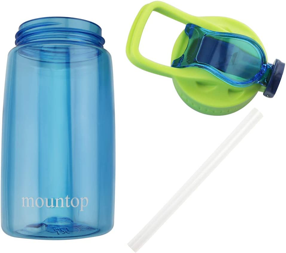 mountop Kids Water Bottle with Straw//Flip-Flop Lid and Handle,BPA-Free Tritan Plastic/ ,Leakpoof and Dustproof Cap 16oz//480ml