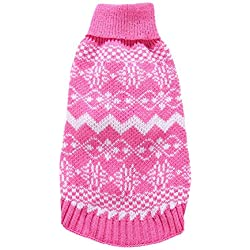 Aolity Christmas Snow Pet Dog Cat Winter Turtle Neck Sweater Coat Costume Apparel (XL, Pink)