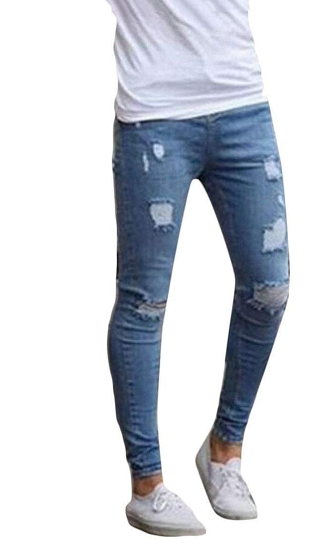 heymoney Mens Distressed Stretch Destroyed Ripped Skinny Denim Pant Jeans