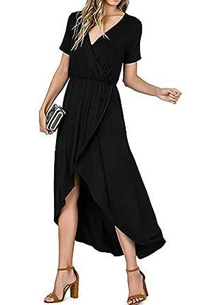 524a55e2bd Avanova Womens Crew Neck Short Sleeve High Slit Solid Maxi Dress with Belt  (S,