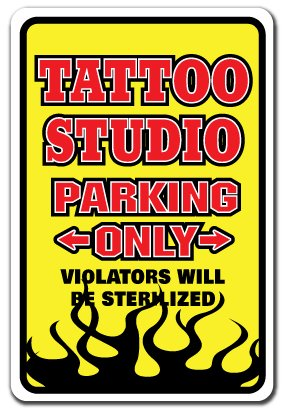 Tattoo Studio Novelty Sign | Indoor/Outdoor | Funny Home Décor for Garages,