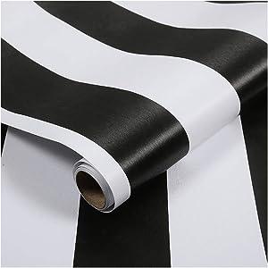 LovingWay Two-Tone Drawer Liner 17.7x177 Inch Self-Adhesive Corner Shelving Paper Multi Use Furniture PVC Protector Black White Stripes