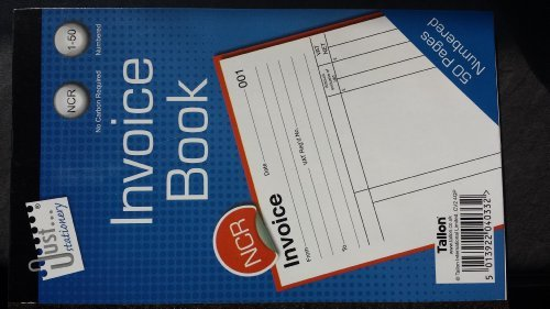 Numbered Duplicate Invoice GBP Receipt Book 1-50 NCR No Carbon Required Pad ()