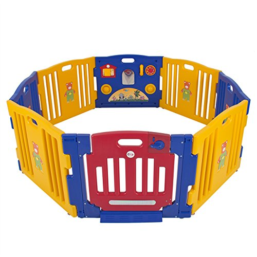 Best Choice Products 8-Panel Indoor Outdoor Home Baby Playpen Kids Safety Play Center - Blue/Yellow/Red ()