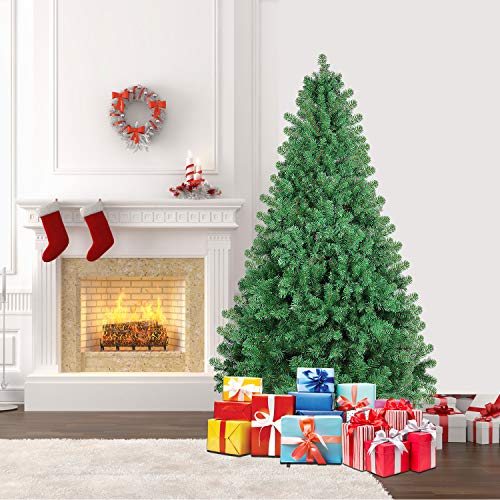 SHareconn 6.5ft Unlit Premium Artificial Spruce Hinged Christmas Tree with 1300 Branch Tips and Metal Stand