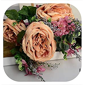 Memoirs- 1 Bouquet 15 Head Silk Artificial Rose Flowers Festival Party Decorative Flower Wedding Decoration Home Decoration Gifts DF-45,E 22