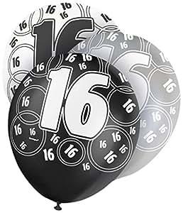 Globos para cumpleaños 16 años de látex negro brillante - Paquete de 6