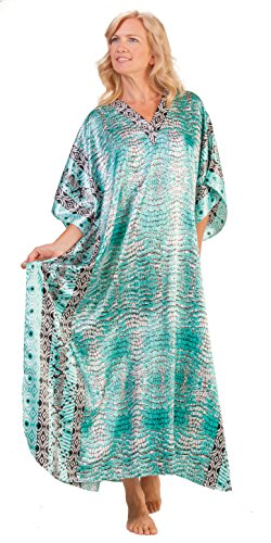 Winlar Long Caftans Satin Charmeuse One Size Kaftan - Mint Tropic (One Size Fits Most, Mint/Black/White) -