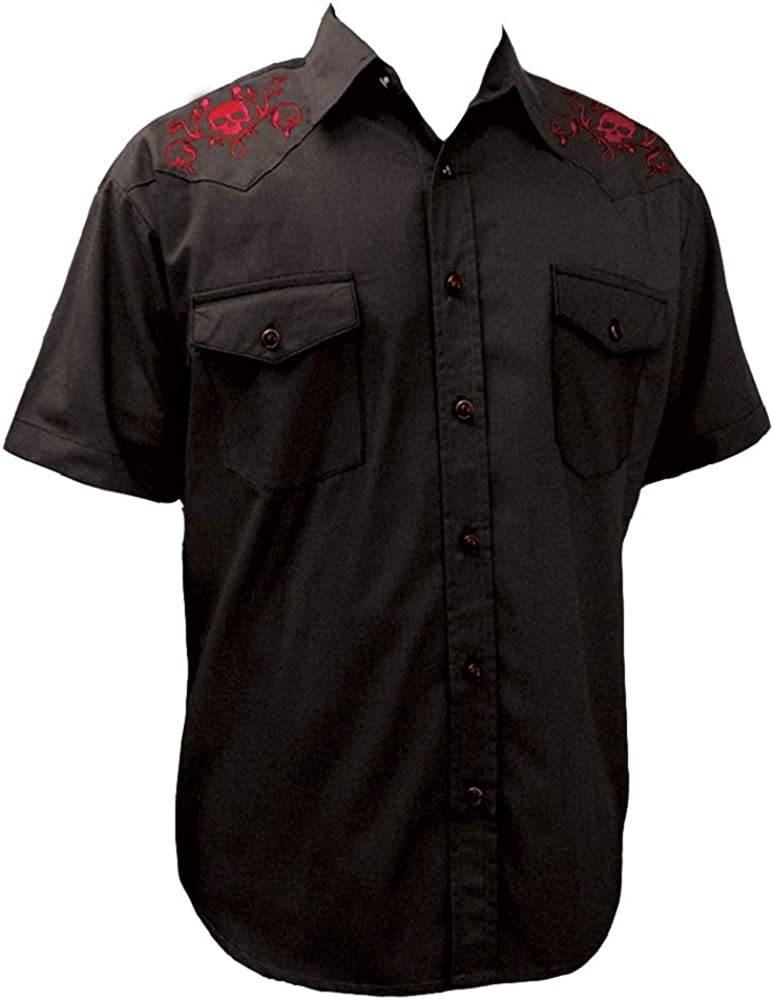 Men's Rockabilly Western Snap Black Shirt~ Cowboy Short-Sleeve Pearl Snap Shirt- Skull and Roses