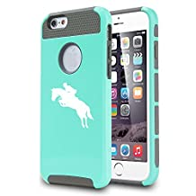 Apple iPhone 5 5s Shockproof Impact Hard Case Cover Horse with Rider Jockey (Teal)