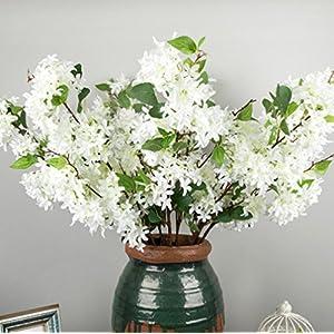 Skyseen 3Pcs Lilac Silk Flower Artificial Syringa Linn Arrangement,White 1