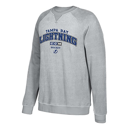 adidas NHL Tampa Bay Lightning CCM Practice Fleece Crew, Medium, Stone