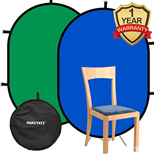 Hakutatz 3'x 5' Collapsible Reversible Chromakey Pop Out Muslin Blue Green Backdrop Background 2 in 1 Backdrop Panel Photography Photo Background Panel with Carrying - Chroma Collapsible Key