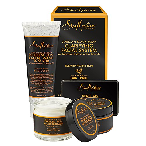 SheaMoisture African Black Soap Facial System Kit 4oz. Facial Wash Scrub 4 oz. Problem Skin Facial Mask 2oz. Moisturizer 3.5oz Bar Soap
