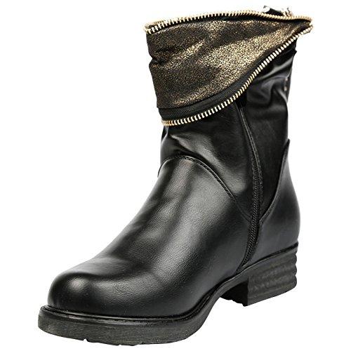 Feet First Fashion Vicki Womens Low Heel Zip up Press Stud Ankle Boots Black Faux Leather UzVlS