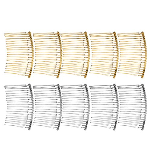 MagiDeal 10 Pieces Vintage Handmade DIY Wire Comb Metal Hair Combs Base 4 Colors Plated Womens DIY Wedding Bridal Hair Jewelry - as described, mixed
