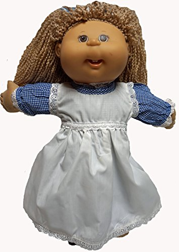 Fits Cabbage Patch Doll and Baby Doll Blue Dress with Pinafore