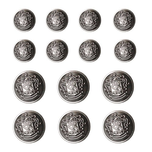 (YaHoGa 14 PCS Antique Metal Blazer Buttons Set 20mm (4/5 inch) 15mm (3/5 inch) for Blazers, Suits, Sport Coat, Uniform, Jackets (Antique Silver) )