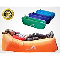 Inflatable Couch Lounger with Backpack Portable Hammock Durable Blowup Air Sofa Easy Inflate Blow Up Chair Wind Pouch Waterproof Sack Pool Float Camping Beach Festivals Sleepover Couches Gaming Chairs