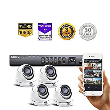 Amazon com : 4 CH HD 【3MP】 Security Camera System Remote iPhone