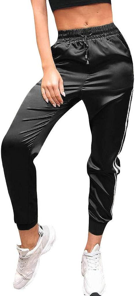 Pantalón Largos de chándal para Mujer Casual Cintura Alta Impresión de Rayas Pantalones de Suelto Deportivo con cinturón Elástica señora Gusspower
