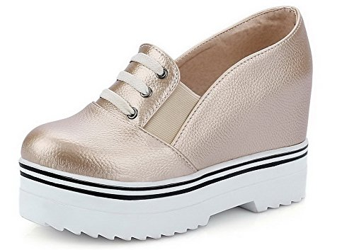 AllhqFashion Damen Blend-Materialien Ziehen auf Rund Zehe Hoher Absatz Rein Pumps Schuhe Golden