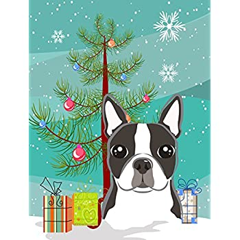 Carolineu0027s Treasures BB1575GF Christmas Tree And Boston Terrier Garden Flag,  Small, Multicolor