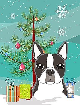 Delightful Carolineu0027s Treasures BB1575GF Christmas Tree And Boston Terrier Garden Flag,  Small, Multicolor
