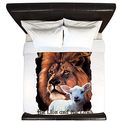 King Duvet Cover Jesus The Lion And The Lamb by Royal Lion