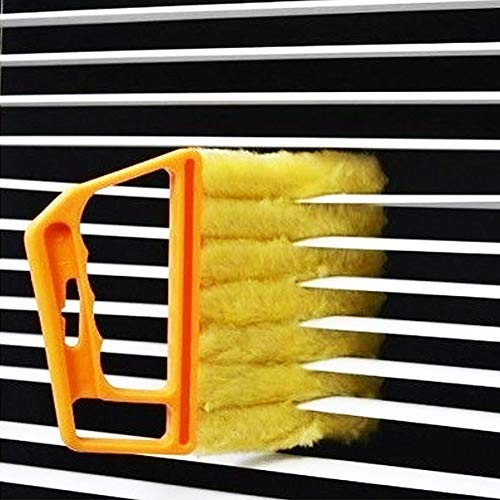 Window Venetian 7 Finger Dusting Cleaner Tool Mini Blind Duster Brush Dust Clean Venetian Blind Brush Window Air Conditioner Duster Dirt Cleaner Housework Tool, Washable