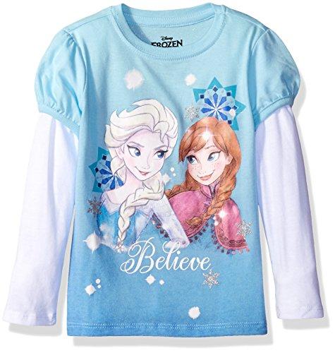 Disney Girls' Toddler Girls' Frozen Elsa/Anna Believe L/s 2-Fer T-Shirt