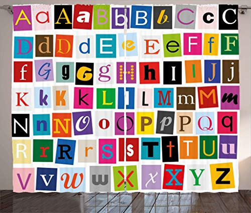 Ambesonne Abstract Curtains, Alphabet Letters Colorful Typography Languages Principle Art Symbols Illustration, Living Room Bedroom Window Drapes 2 Panel Set, 108W X 84L Inches, Multicolor
