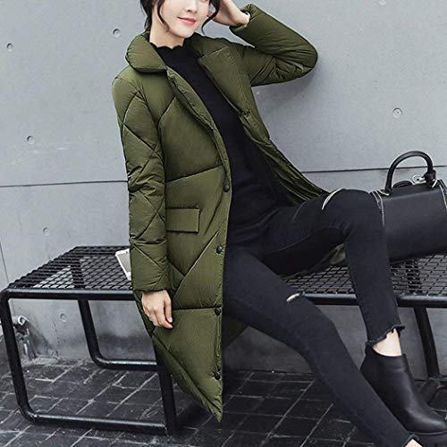Tasche Outwear Grün Anteriori Manica Single Moda Donna Lunga Vintage Bavero Piumino Caldo Outerwear Cappotti Breasted Invernali xFF1q6Twv
