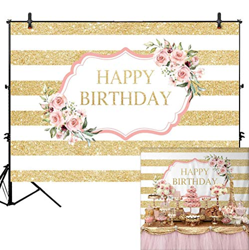 Sweet Sixteen Themes List (Allenjoy Pink Rose Happy Birthday Backdrop Gold White Stripes Women 20th 30th 40th 50th Bday Party Decoration Girls Sweet 16 Cake Table Banner Vinyl 7x5ft Photo Booth)